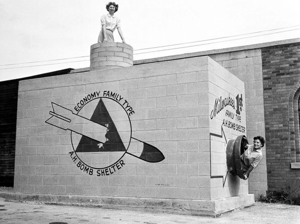 Family Fallout Shelter on display in Milwaukee, WI, 1958.